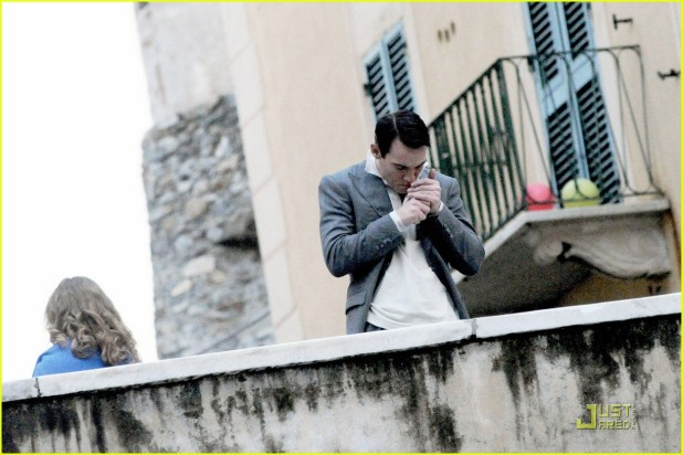 "Jonathan Rhys Meyers is spotted on the set of the upcoming film ""Belle Du Seigneur"", shooting in the small Italian fishing village of Camogli"