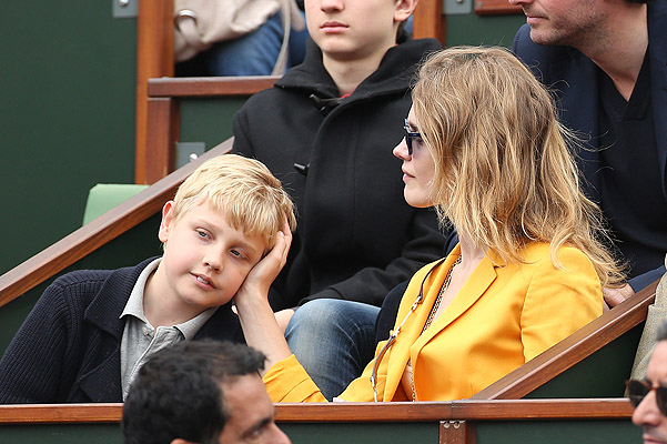 Natalia Vodianova, her son Lucas and her boyfriend Antoine Arnault at the French Open 2013 - Paris